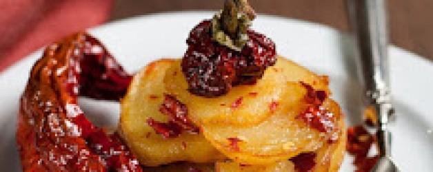 Tortiera di baccalà e tronchetti di peperone secco